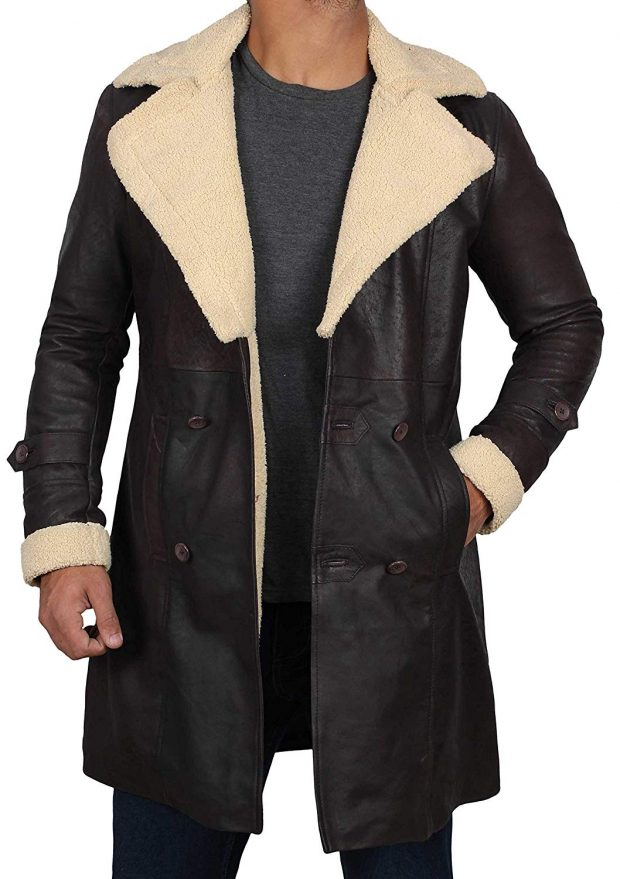Superfly beige shearling leather coat