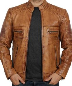 Tan leather biker jacket men