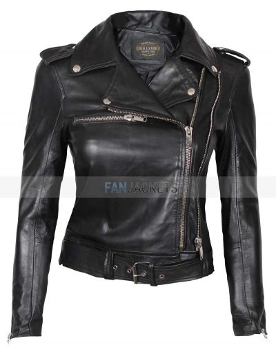 Women black leather motorcycle jacket biker