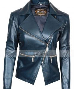 Womens Asymmetrical blue leather jacket