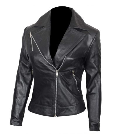 Womens Asymmetrical leather jacket black biker