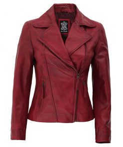 Womens Red leather asymmetrical jacket