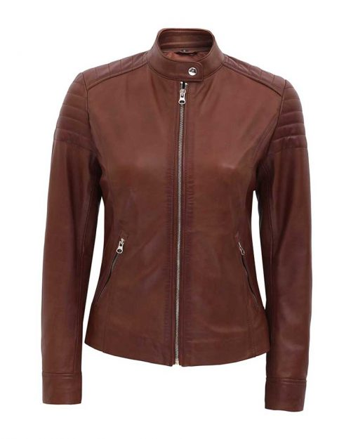 Womens Slim fit padded leather jacket brown