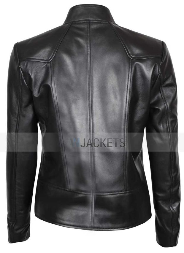 Womens black leather jacket cafe racer