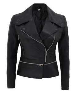 Womens black leather motorcycle jacket