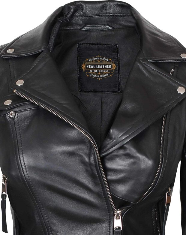 Womens black motorcycle jacket real leather