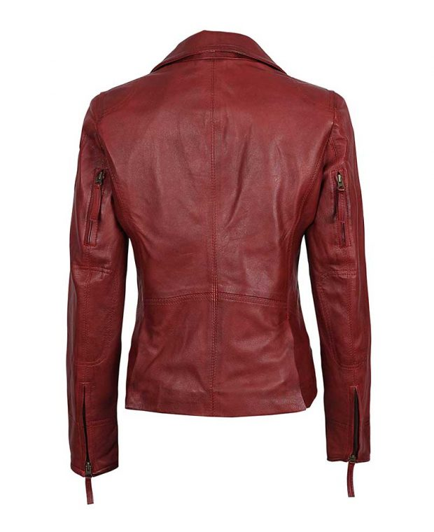 Womens maroom leather jacket red