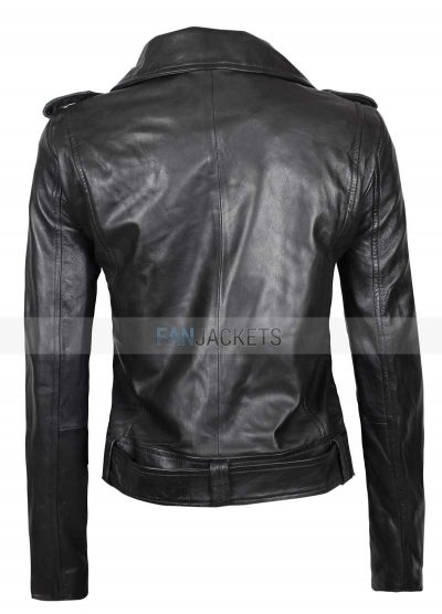 asymmetrical black real leather jacket womens