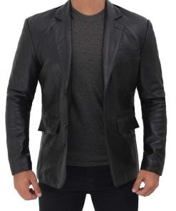 black lambskin leather blazer for men