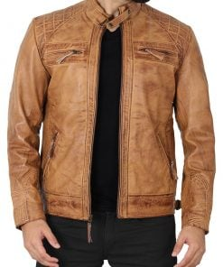 camel brown leather jacket for men