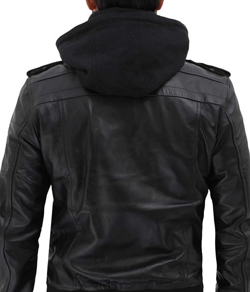 hooded black jacket real leather