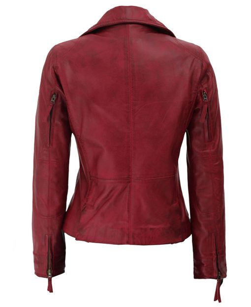 lambskin leather womens red moto jacket