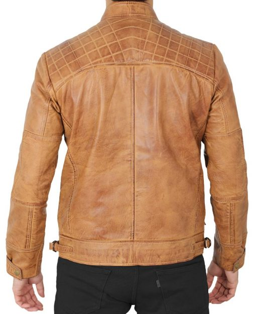men genuine leather biker jacket