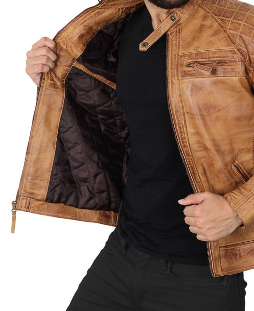 mens real leather distressed brown leather jacket