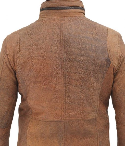 mens real leather distressed light brown leather jacket