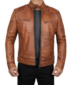 mens tan brown leather jacket men