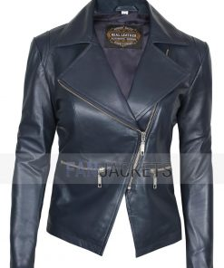 navy blue leather motorcycle jacket women