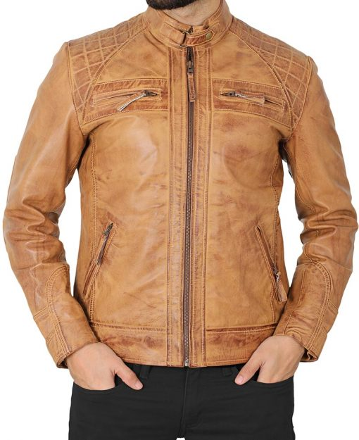 quilted biker racer leather jacket men