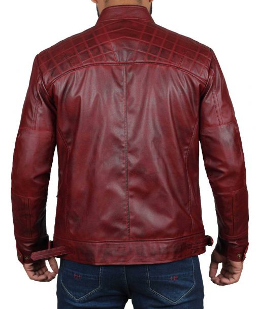 quilted maroon leather jacket