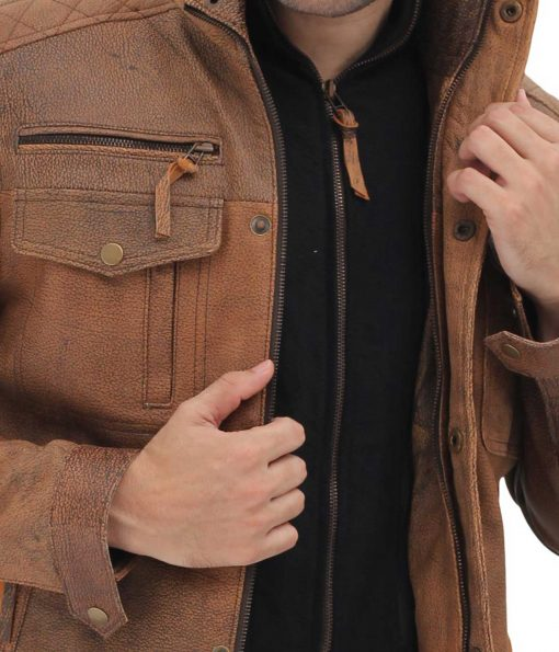 real leather distressed jacket