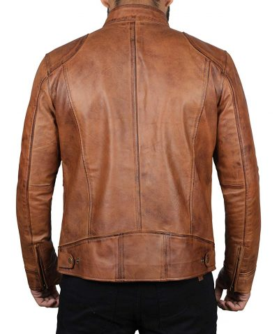 real leather jacket motorcycle cafe racer men