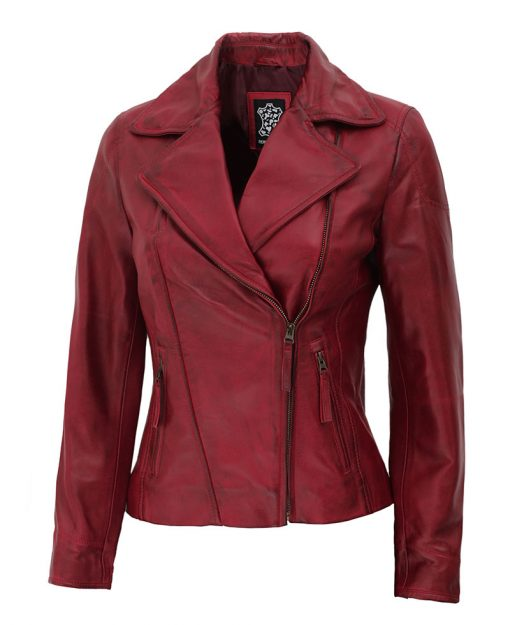 women real leather burgundy leather jacket