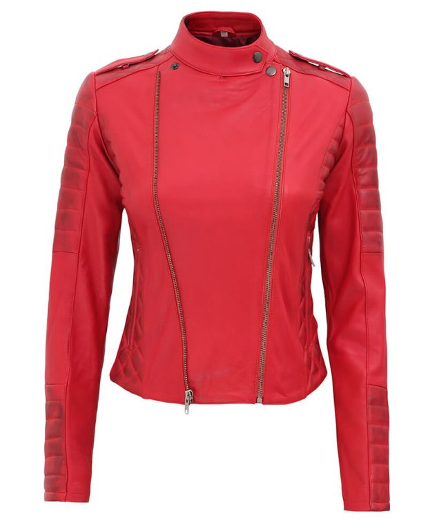 womens leather red biker jacket