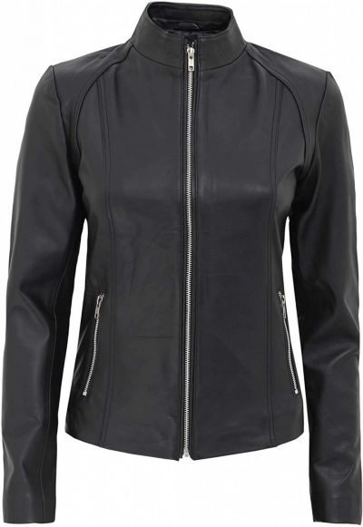 Acerra black leather jacket women