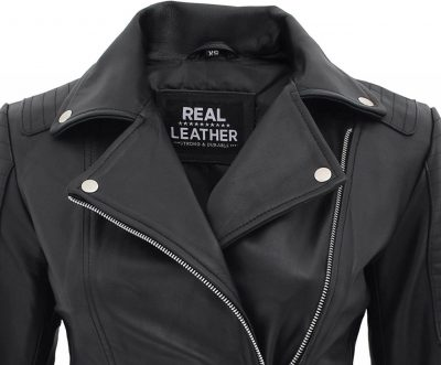 Asymmetrical black leather jacket womens