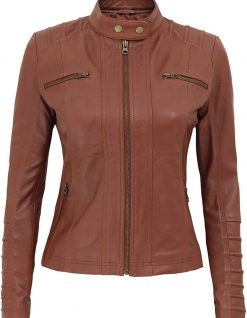 Aversa Brown leather womens jacket