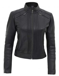 Black Cafe Racer Jacket Womens quilted