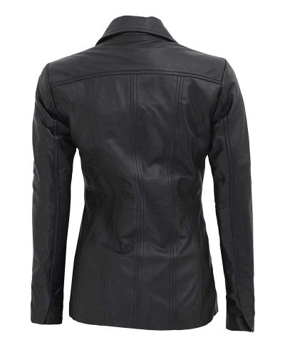Black leather blazer coat button style womens