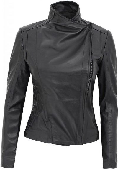 Black leather jacket double breasted women