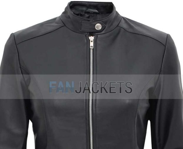 Black leather jacket womens cafe racer