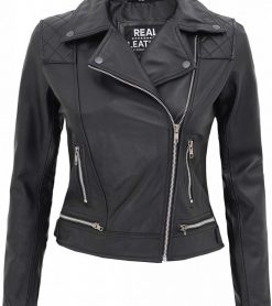 Black motorcycle jacket women