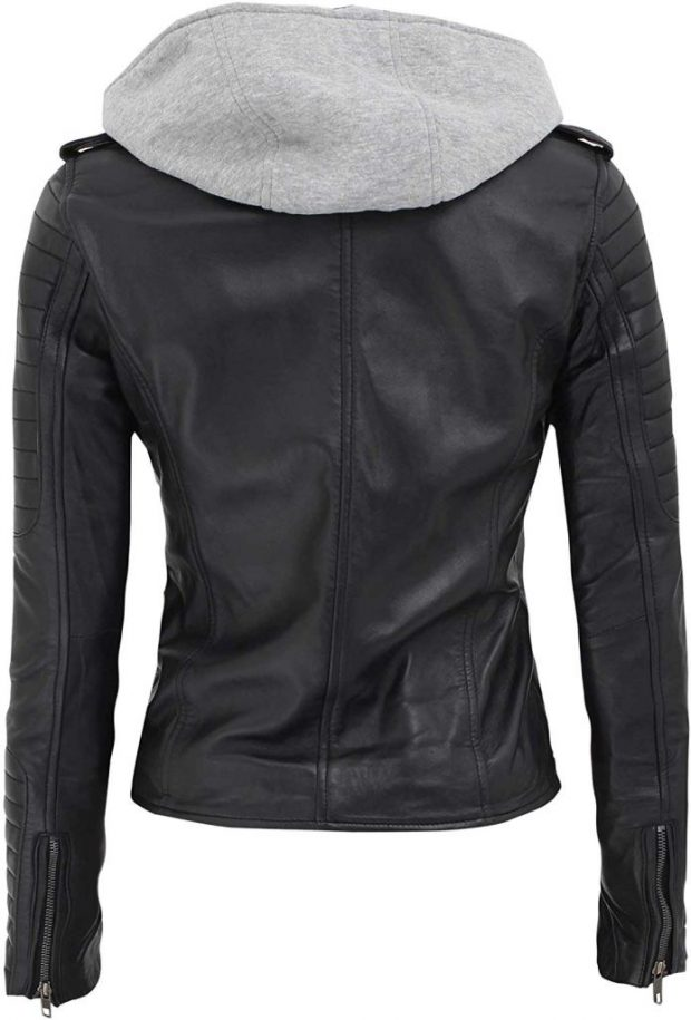 Black motorcycle leather jacket with hood