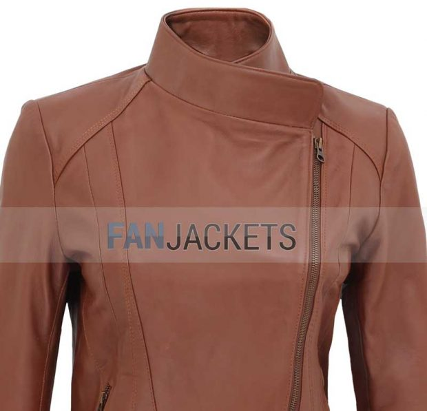 Brown leather jacket women biekr style