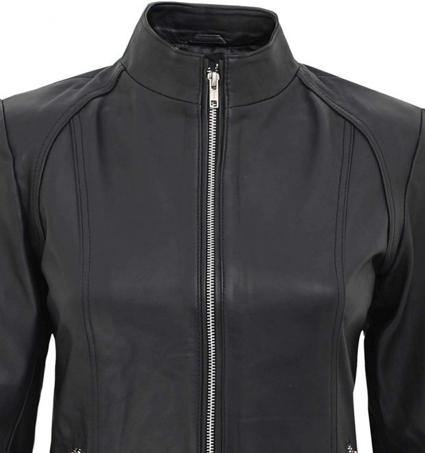Cafe racer jacket black women