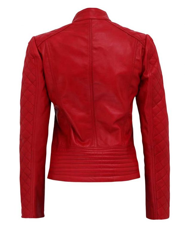 Christmas red leather jacket womens