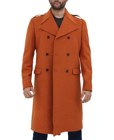 Copper Brown Mens Long Wool Trench Coat
