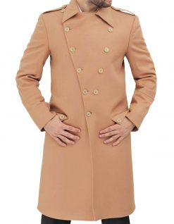 Double breasted peacoat mens wool coat