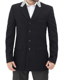 Grey and black wool coat for men