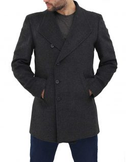 Mens Gray Wool Jacket charcoal
