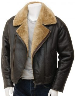 Mens lamsbkin asymmetrical leather jacket brown