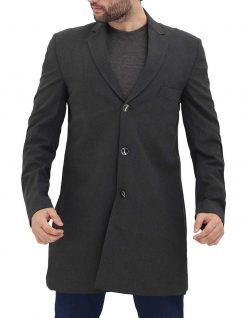 Mens long grey coat button