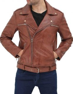 Negan Leather jacket brown asymmetrical biker