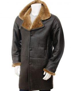 Shearling leather trench coat men