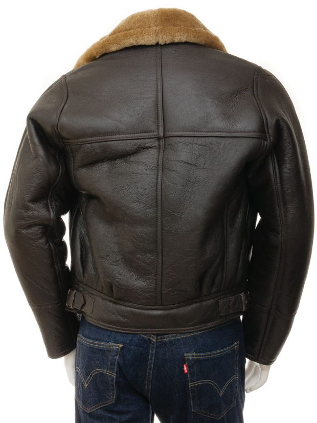 Sheepskin leather jacket asymmetrical mens