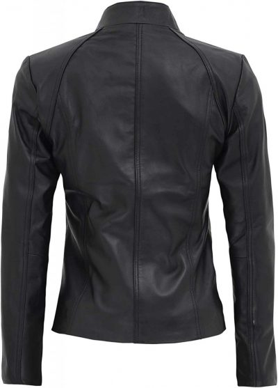 Slim fit black leather jacket women