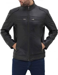 Slim fit leather jacket for men biker